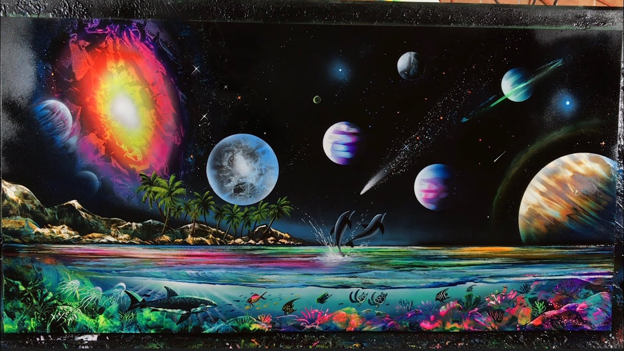 Planets galaxy under water reef spray paint youtube - Galaxy and planets ...