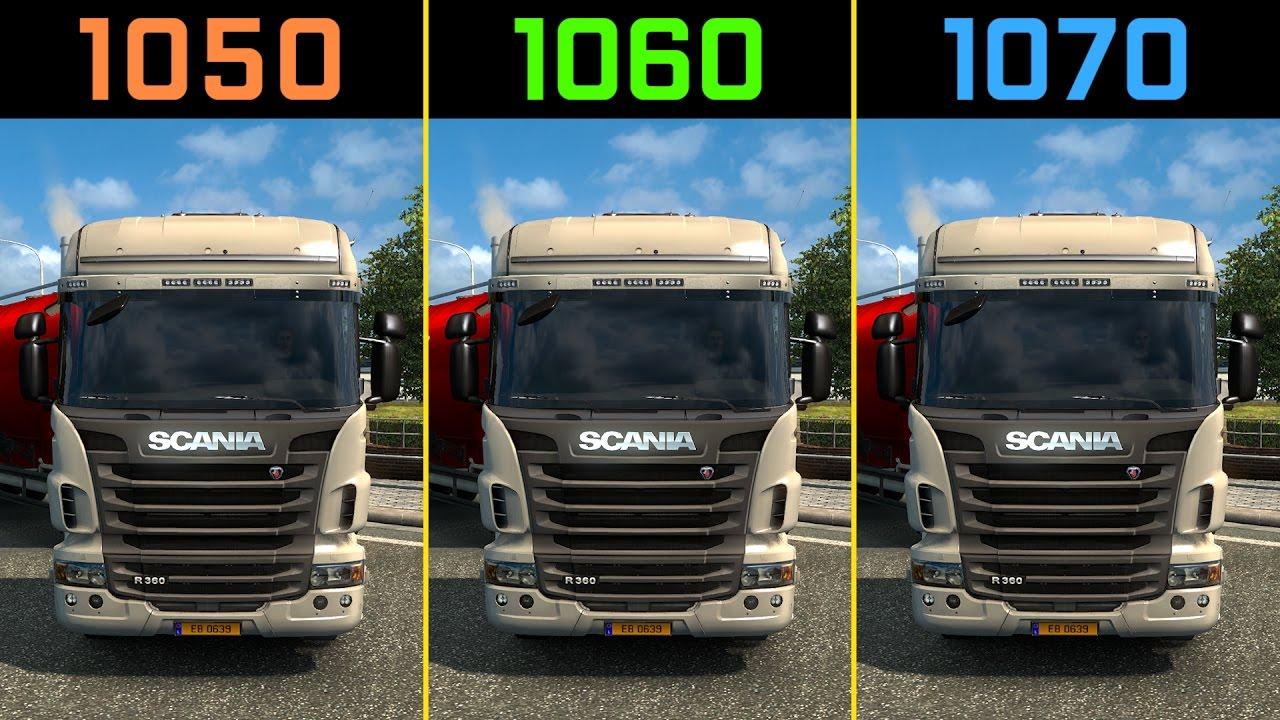 Euro Truck Simulator 2 GTX 1050 Ti vs  GTX 1060 vs  GTX 1070 [1440p]