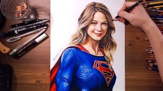 SuperGirl (Melissa Benoist) - Colored pencil speed drawing | drawholic