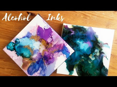 Tutorial : Alcohol Ink Painting mounted on to Canvas
