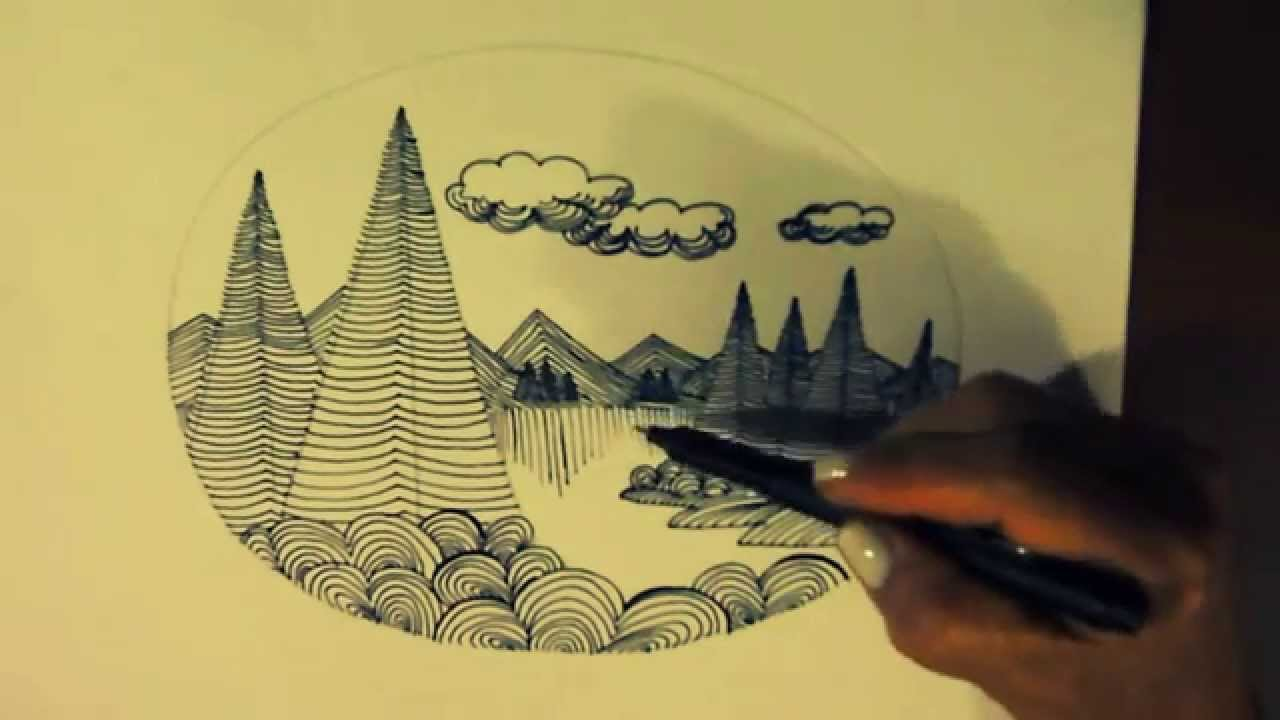 Dibujo De Lineas Paisaje: COMPLEMENTO DE LECCION 3 (2/2) PAISAJE -EJERCICIO