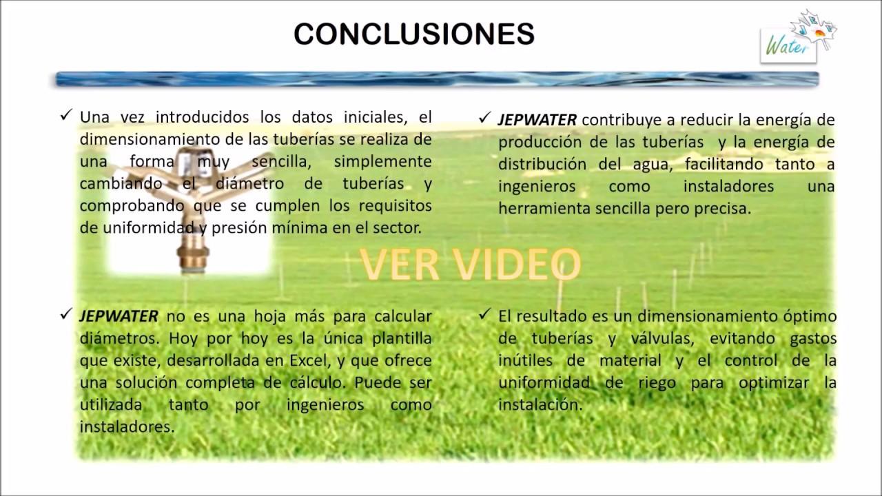 JEPWATER Soluciones para el cálculo de riego por aspersión - YouTube