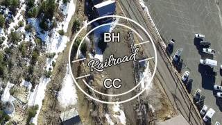 Zoomed in Blackhawk to Central City Railroad bed. Drone flight.