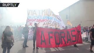 Hundreds protest NATO's presence in Sardinia