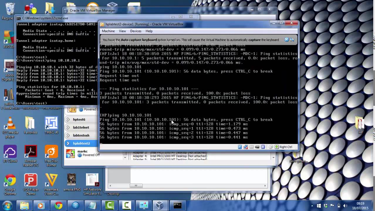 HP Network Simulator Lab 1 – Setting up SSH