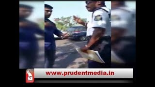 PERSON THREATENS TRAFFIC POLICE TO EVADE CHALLAN, USES NAME OF CM'S UNDER SECRETARY_Prudent Media