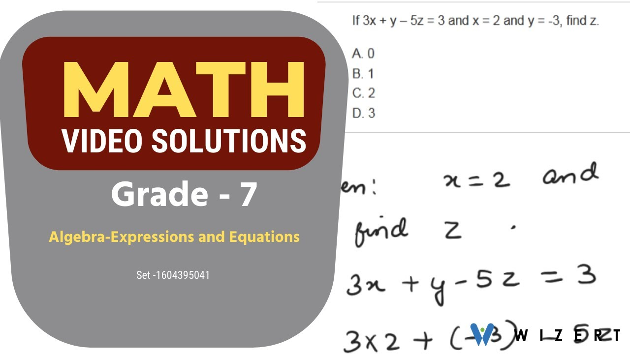 medium resolution of Maths Tests for Grade 7 - Grade 7 Math Algebra (Expressions And Equations)  worksheets-Set 1604395041 - YouTube