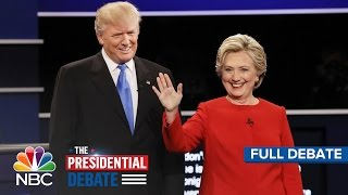 The First Presidential Debate: Hillary Clinton And Donald Trump (Full Debate) | NBC News(Presidential nominees Donald Trump and Hillary Clinton face off in the first of three scheduled presidential debates from Hofstra University. Moderated by NBC ..., 2016-09-27T05:11:23.000Z)