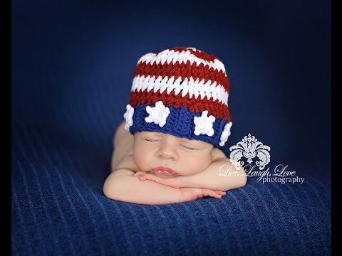 Crochet Tutorial Patriotic American Flag Beanie - Right Hand Version