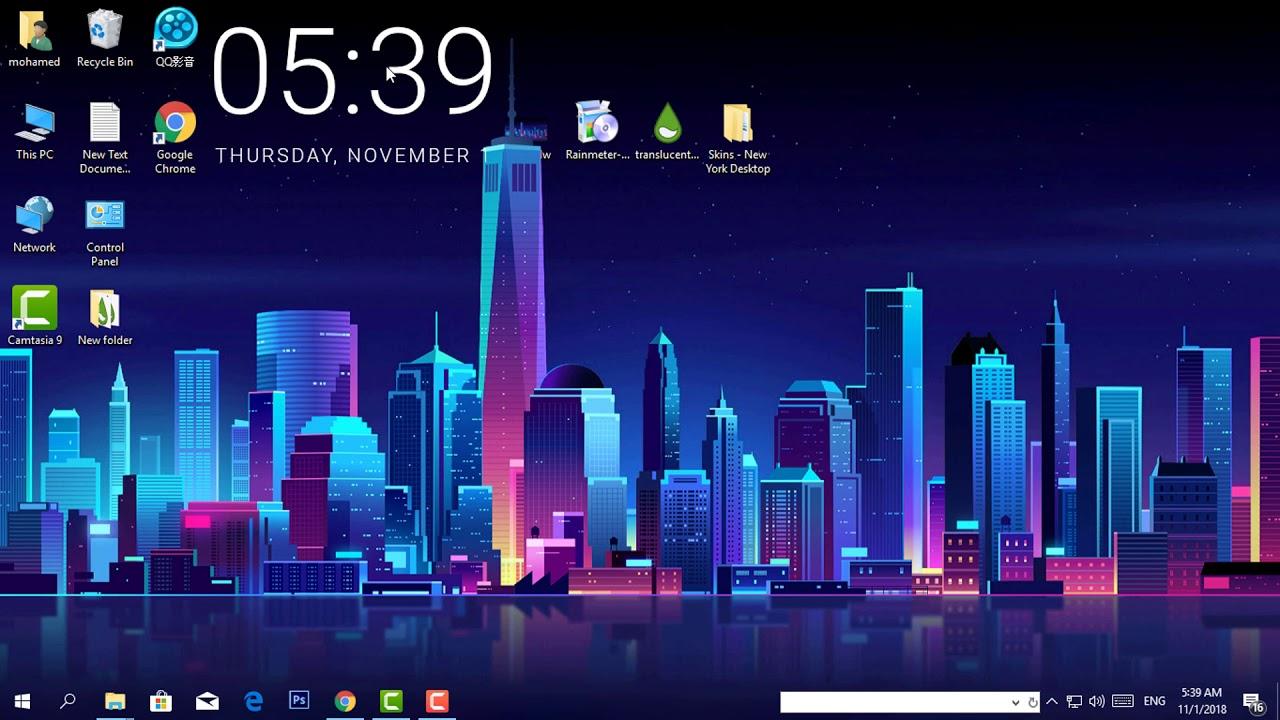 تغيير شكل سطح المكتب ويندوز 10 لشكل جذاب Desktop 4k
