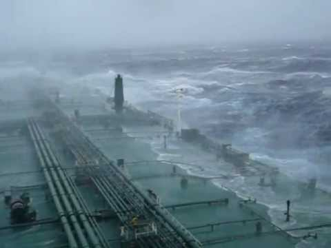 Large super tanker ship in huge storm in Atlantic Ocean.mpg