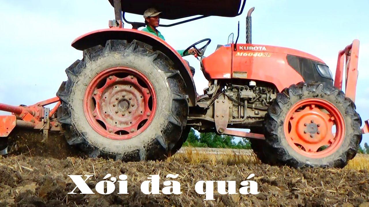 Máy cày kubota M6040SU xới đất quá đã, tractor Kubota M6040su
