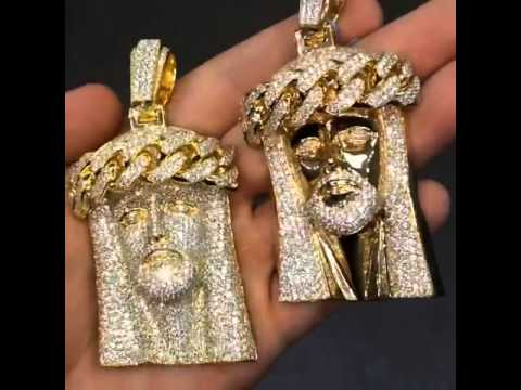Fabolous Kanye West Jay Z Style Custom Made 18k Gold Solid Diamond Cuban Link Pieces