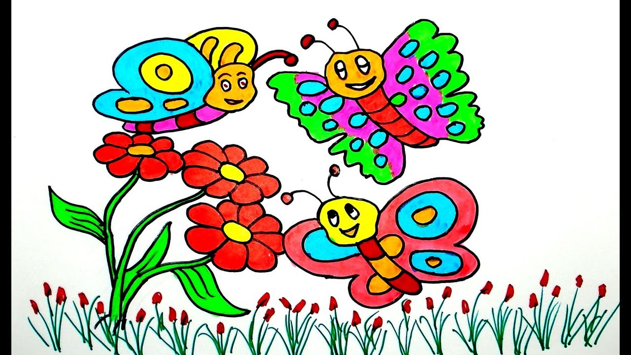 butterfly drawing, drawing for beginners, draw for kids, Color for ...