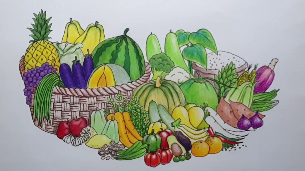 Drawing Fruits And Vegetables Poster Making Youtube