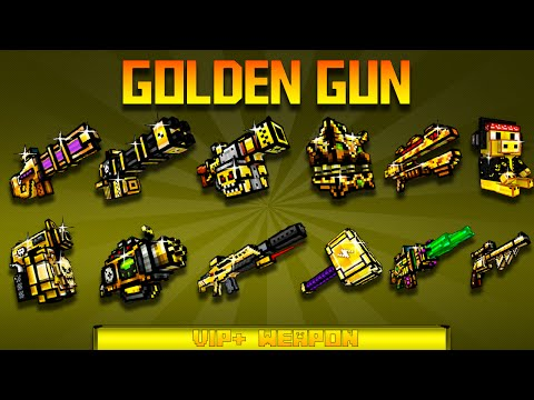Pixel Gun 3D - Using All GOLD GUNS !!