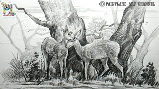 How To Draw Two Deers In A Landscape With Pencil Art | Easy Pencil Shading