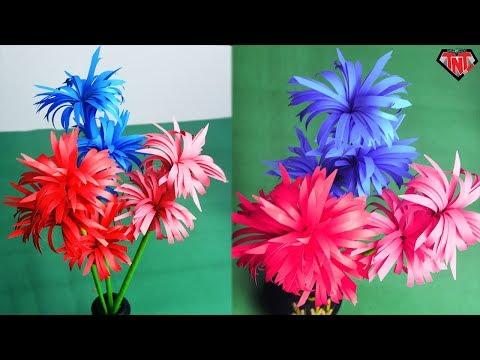 How to Make Beautiful Paper Stick Flower Easy Mums   কাগজ দিয়ে চমৎকার ফুল বানানো শিখুন