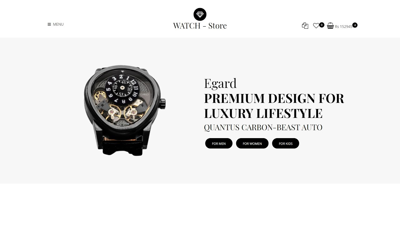 Watch Website | E-commerce Website using HTML , CSS and jQuery | Part 2 (Home Section)