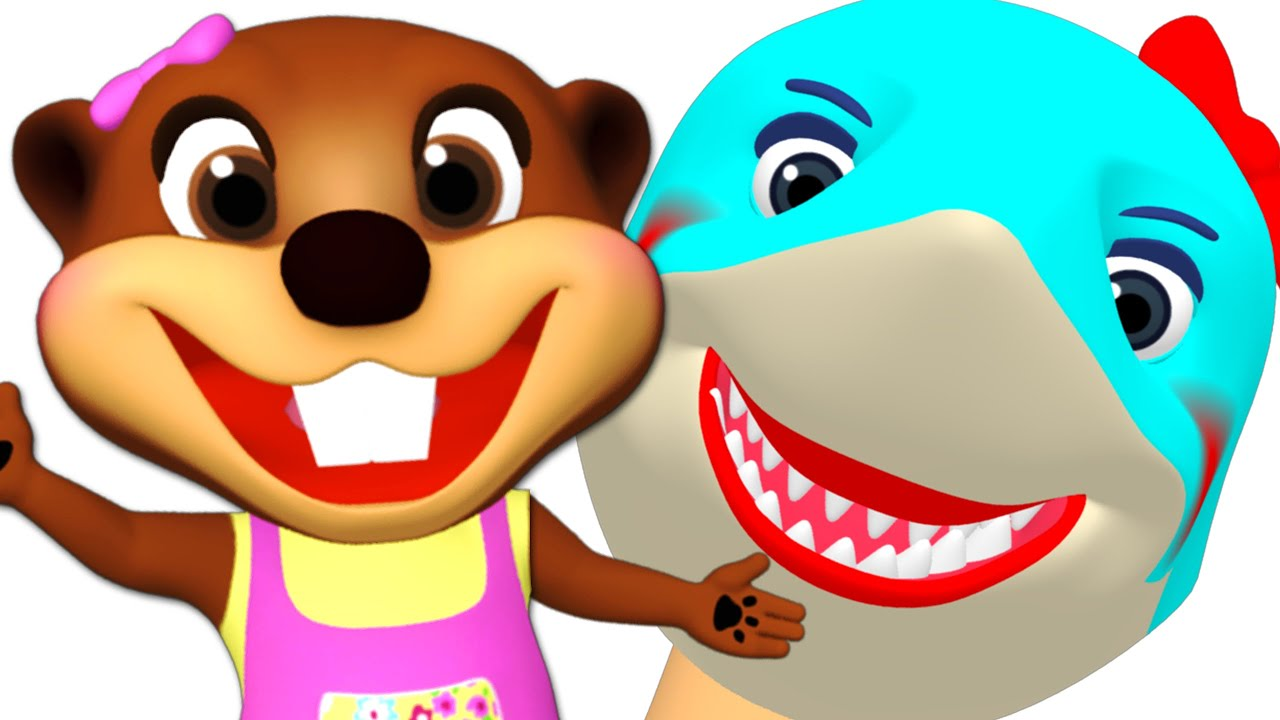 Finger Family Sharks + More   Sing Along with Baby Beavers Songs for Children, Learn Colors ABCs