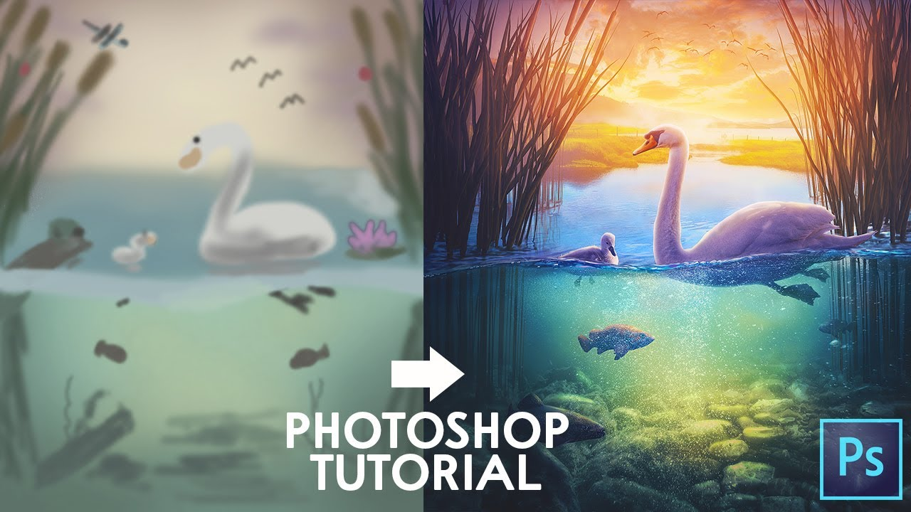 Photoshop Tutorial - Morning at the Pond