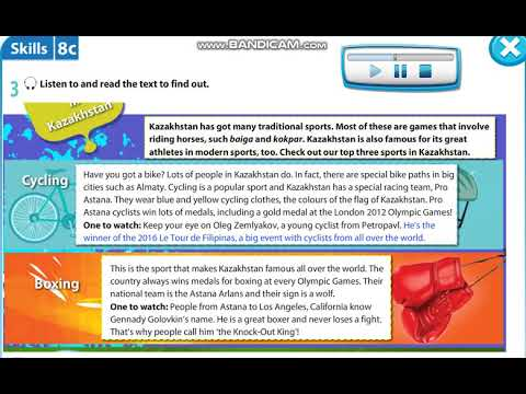 Excel 5 module 8 p104 Sports in Kazakhstan text