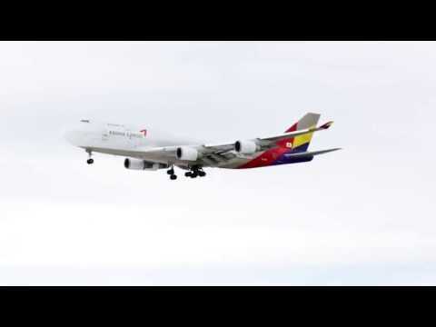 Asiana Cargo Boeing 747-48 landing Anchorage Ted Stevens International Airport, Alaska