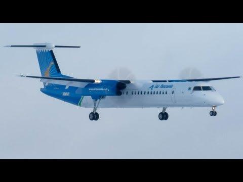 Air Tanzania Bombardier Q400 landing in Montreal (YUL/CYUL)