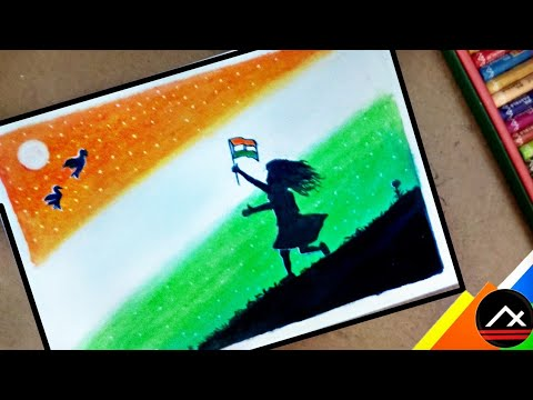 Independence Day Drawings By Oil Pastels Beautiful Girl With Indian Flag Step By Step Artxone Youtube
