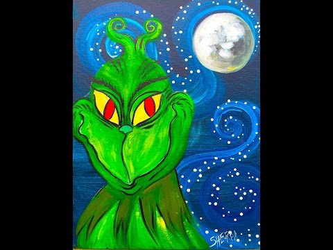 The Grinch Beginner Acrylic Painting tutorial LIVE