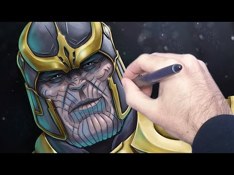 How to colour Thanos Avengers digital painting narrated tutorial thumbnail