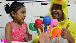Finger Family Nursery Rhymes for Children with Ishfi & Smiley balloons