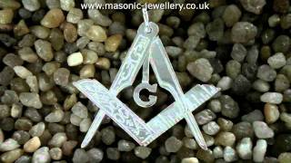 Sterling Silver Masonic Folding Pendant Square & Compass DWA419