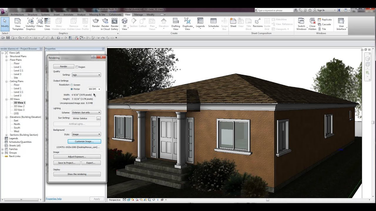 Revit 2014 rendering tips youtube for Rendering gratis
