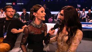 Eurovision host Lise Rønne surprises Conchita Wurst in the Greenroom