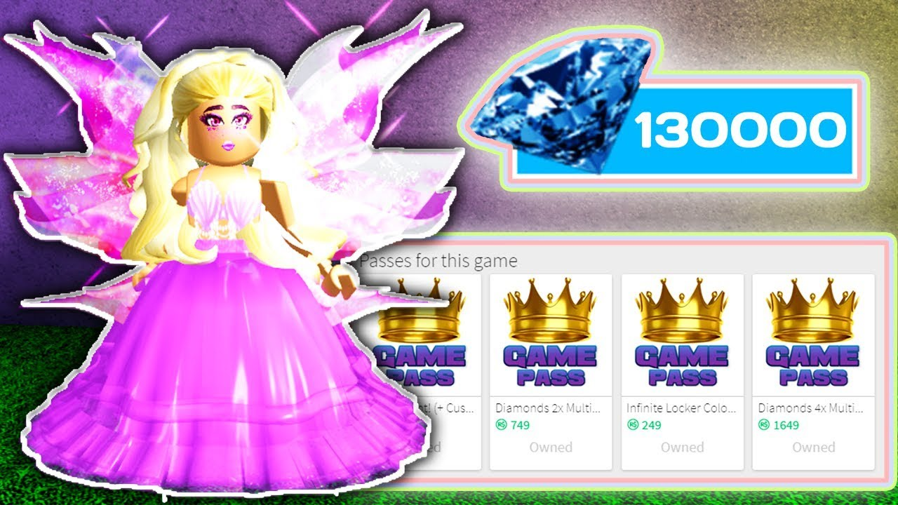 SPENDING ANOTHER 130 000 DIAMONDS & BUYING ALL GAMEPASSES // Roblox Royale  High School // Challenge