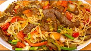 Carne con Brócoli-Comida China Estilo Chow Mein