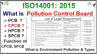 CPCB (Central Pollution control board) & functions of CPCB, SPCB for ISO14001:2015, Legal compliance