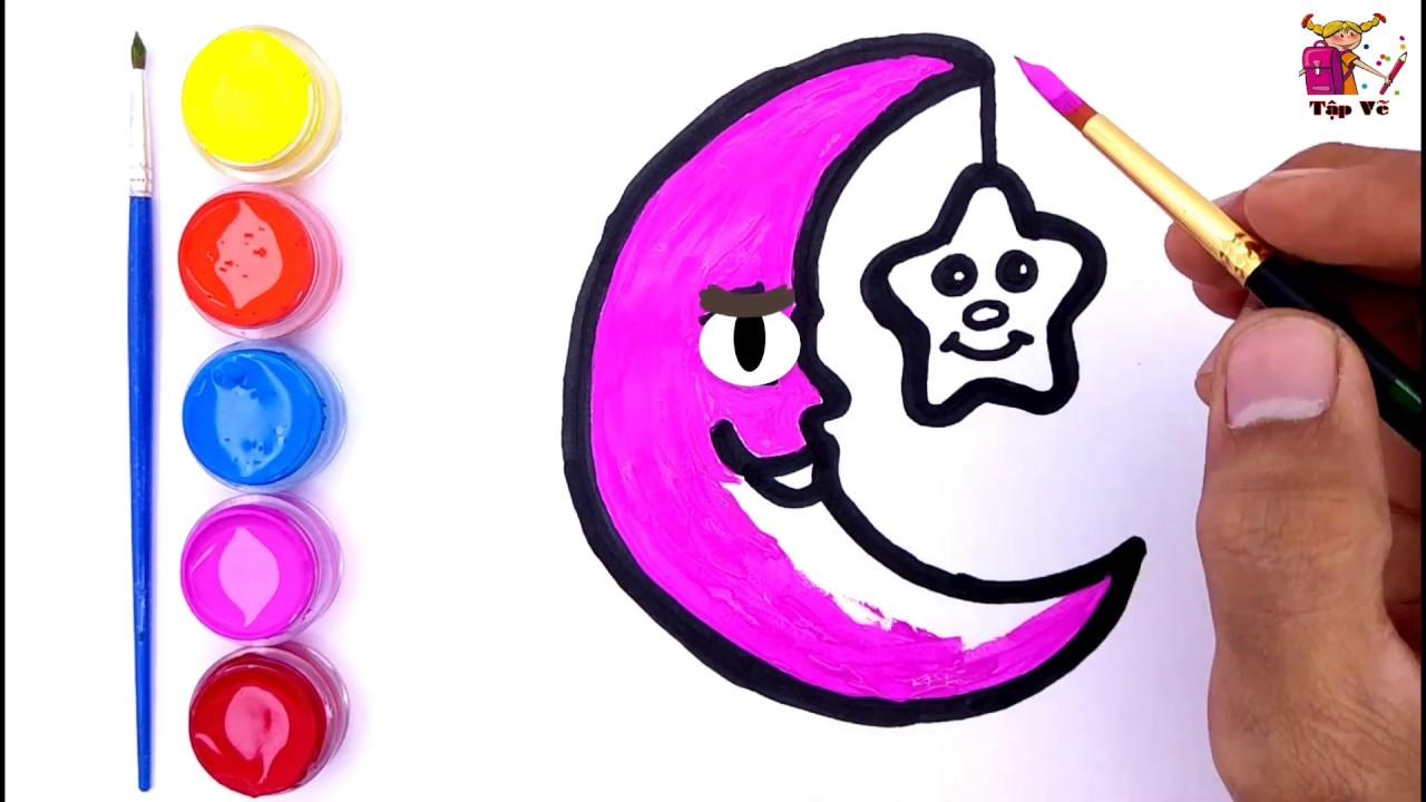 Vẽ và tô màu mặt trăng | Draw and color the moon