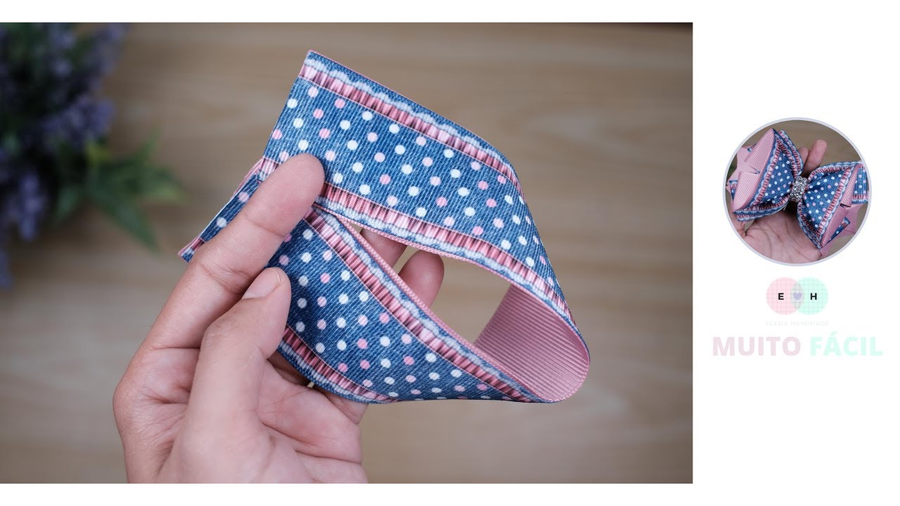 Laço simples, mas bonito, usando fita de grosgrain n9 - tutorial fácil de seguir | Elysia Handmade