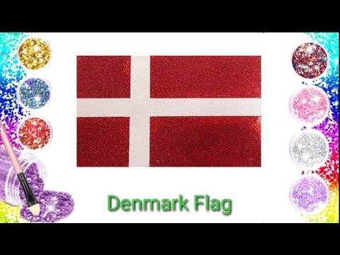 Denmark Flag Glitter Art And Coloring|Glitter Toy Art.