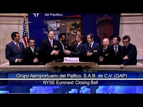 10 March 2011 Grupo Aeroportuario del Pacífico, S.A.B. de C.V. (GAP) rang the NYSE Closing Bell