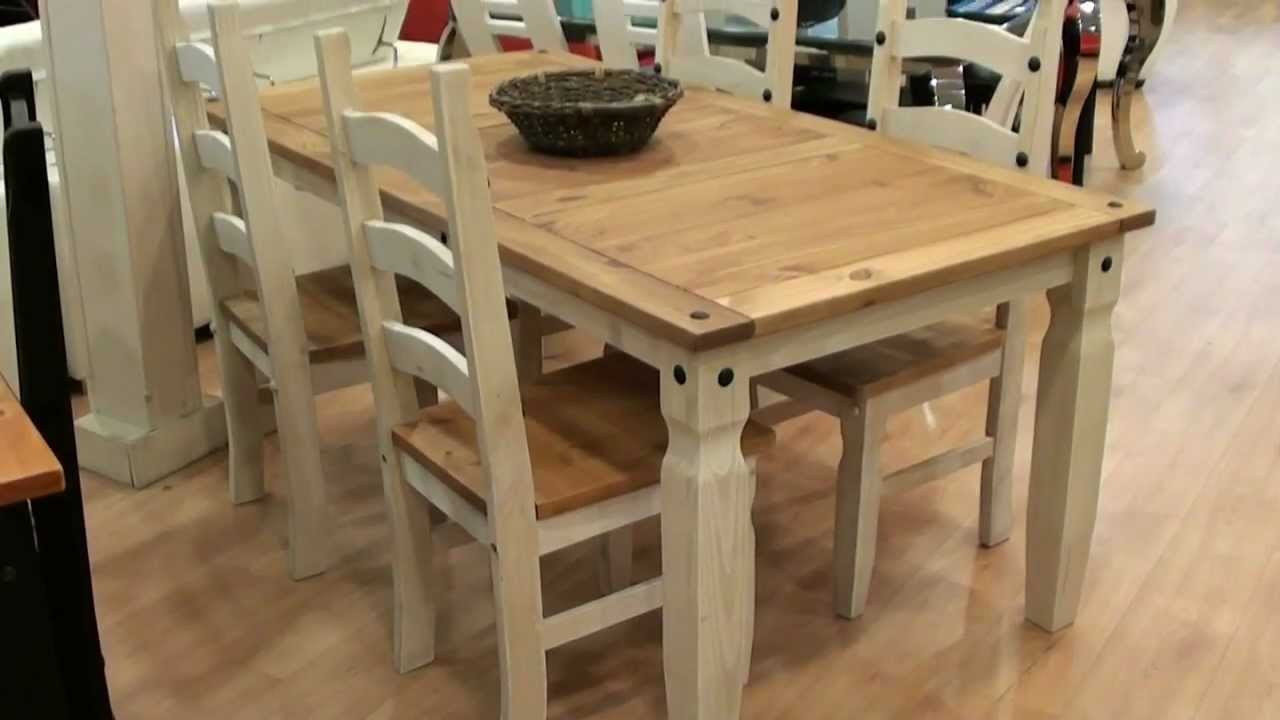 Mesa y 4 sillas r stico madera maciza 2860 2717 youtube for Mesa rustica con sillas modernas