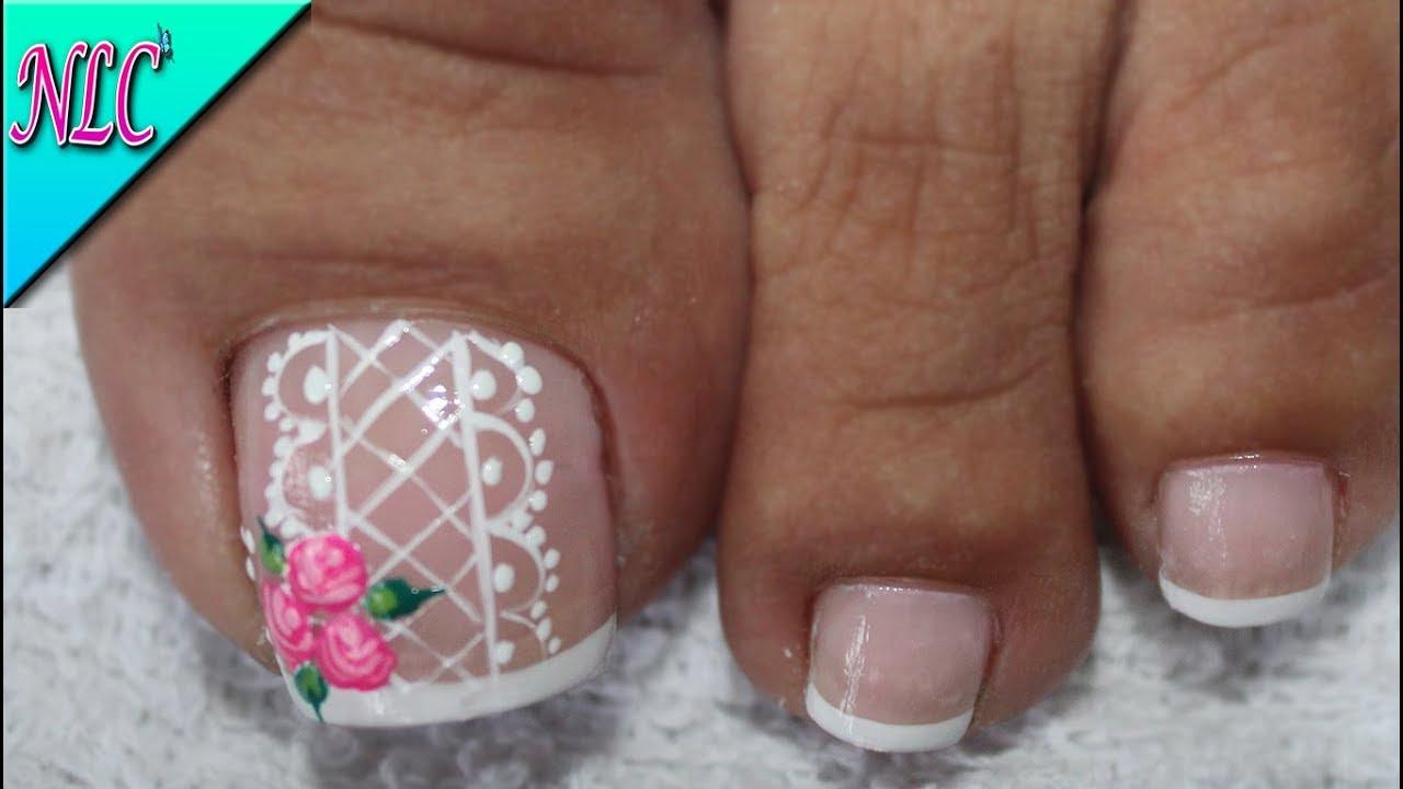 Diseño De Uñas Para Pies Rosas Sencillas Roses Nail Art Nlc