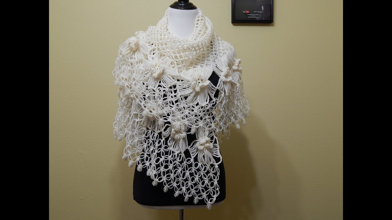 Chal Crochet con Flores parte 1 de 2 - YouTube