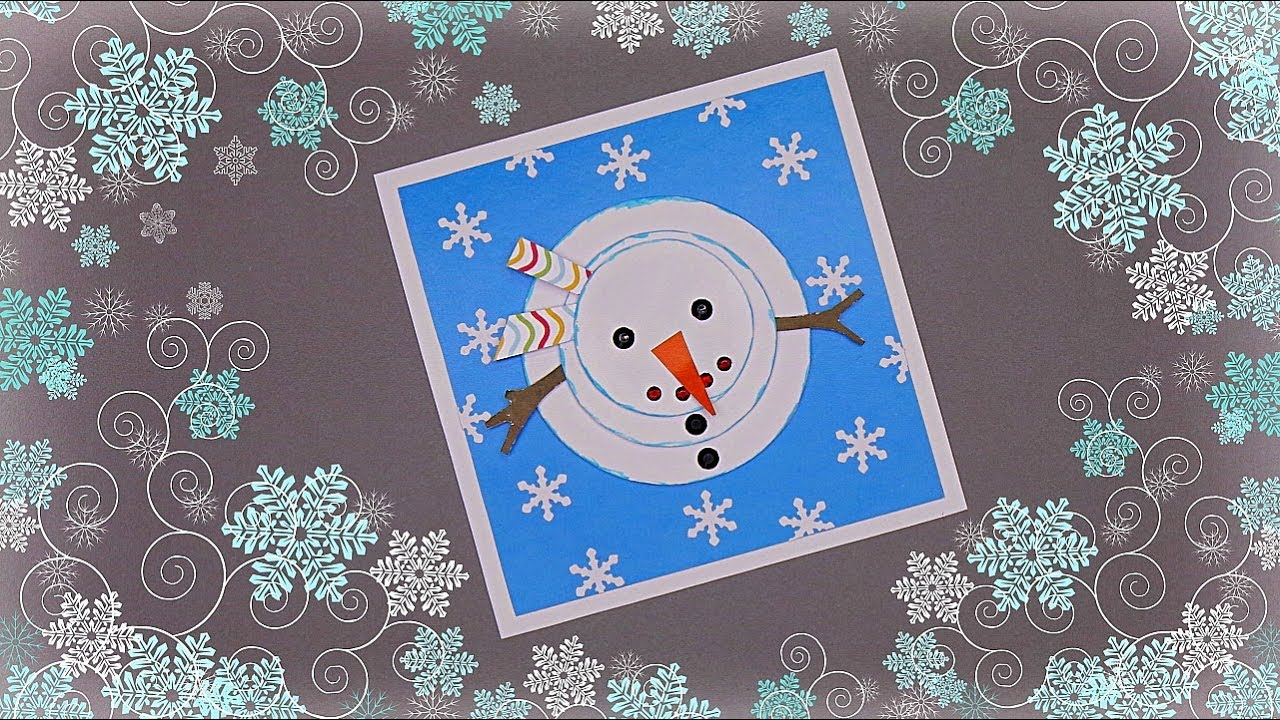 Snowman Christmas Cards Ideas.Handmade Christmas Card Snowman How To Make Christmas Card Xmas Card Making Idea