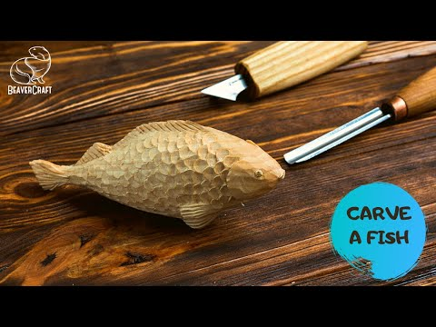 Fish Carving Out Of Wood - Full Tutorial