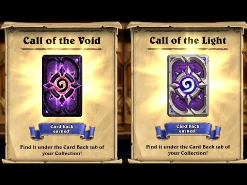 Welcome Back to Hearthstone & Twitch Prime Rewards Call of the Void & Light Card Back