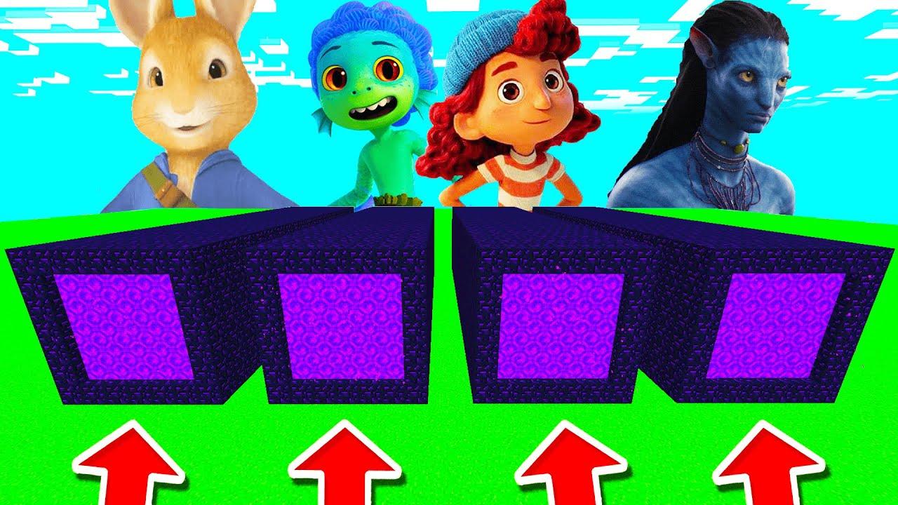 Minecraft PE : DO NOT CHOOSE THE WRONG LONG PORTAL! (Luca, Giulia, Peter Rabbit & Avatar)