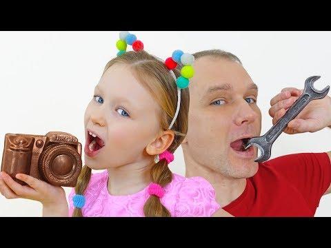 Лиза и Папа устроили челлендж съедобное как шоколад и настоящее